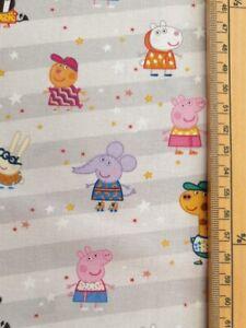 Peppa Pig fabric UK 100% cotton material metres friends Gerald giraffe Zoe zebra
