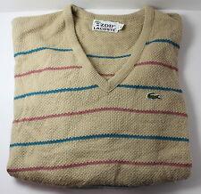 Izod Lacoste Vintage Men's XL V-Neck Striped Sweater w Gator