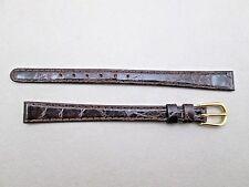 Genuine crocodile lady's watch band very dark brown 10mm lug size Long NOS