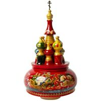 Red St Basil's Cathedral Music Box, Russian Troika, Moscow Red Square