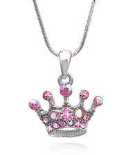 Pink Crystal Princess Crown Tiara Pendant Necklace Girl Fashion Jewelry n31p