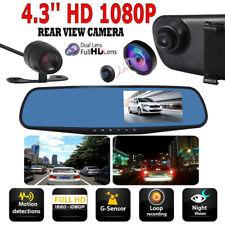 Dual Lens 1080P Full HD Car Auto DVR Mirror Dash Cam Recorder + Rear View Camera