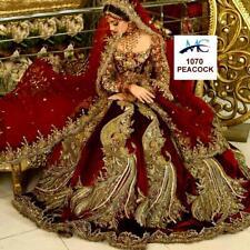 Maroon Bridal Lehenga Chunri Indian Ethnic Lengha Choli Wedding Wear Velvet Sari