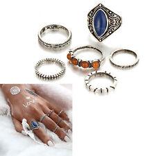 6 Pcs Mittag Ring Boho Strand Jahrgang Tibetisch Silber Ringe Frauen Schmuck Set