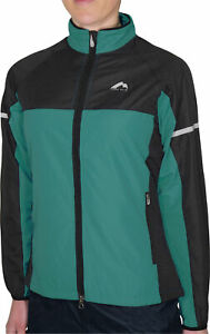 More Mile Woven Womens Running Jacket Green Full Zip Water Resistant Sports Coat