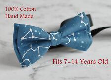 Boy Kids Teenage Stars Constellation Map 100% Cotton Blue Bow Tie 7-14 YearsOld