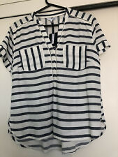 DASH ladies blue and white striped top. UK 12. Short sleeved. V neck. New+ tags