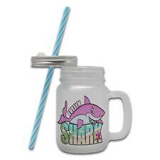 Personalised Shark Pink Novelty Glass Mason Jar Mug w/ Straw