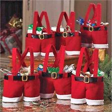 Xmas Red Wine Bottle Bags Santa Pants Claus Christmas Holders Pockets Christmas