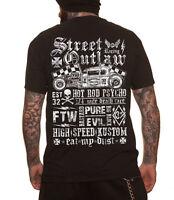 Dragstrip Clothing Black Street Outlaw Kustom Biker Hot Rod Tattoo 13 T`Shirt