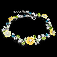 100% NATURAL 6X4MM PERIDOT LONDON BLUE TOPAZ CZ MOP STERLING SILVER 925 BRACELET