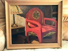 Peinture a l'huile sur toile Lampe et Fauteuil Chinois du XIXéme siècle signé