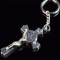 1x Exquisite Metal Cross Key Chain Jesus Bless Cross Pendant Keyring Jewelry New