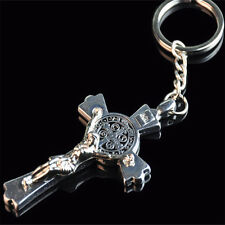 1x Exquisite Metal Cross Key Chain Jesus Bless Cross Pendant Keyring Jewelry New