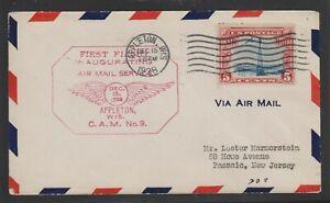 USA 1928 first flight Cover : Appleton WIS - New York (15th December 1928)