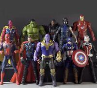 10pcs Marvel Avengers Hulk Iron Man Captain America spider Thanos Vision Kid Toy