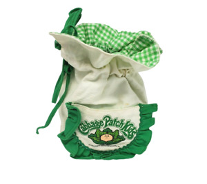 VINTAGE 1983 CABBAGE PATCH KIDS IMAGININGS 3 SMALL CANVAS BAG TOTE GREEN LINING