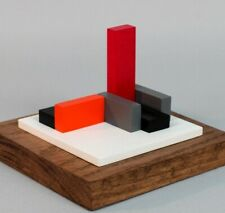 SCULPTURE EN BOIS POLYCHROME ABSTRACTION NEOPLASTICISME SIGNEE NUMEROTEE  (11)