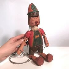 Vintage Original Wooden Painted Pinocchio Theatre String Marionette Puppet