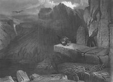 BALD EAGLE NEST by LAKE Mountain ROCKY CLIFF ~ 1878 LANDSEER Art Print Engraving