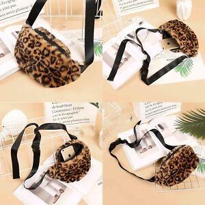 Ladies Designer Leopard Faux Fur Waist Belt Coin Mobile Crossbody Bags Purse UK