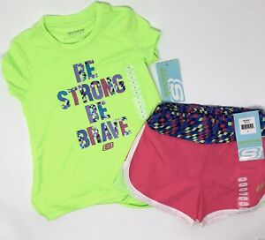 NWT Girls Sz 10 Skechers Athletic Shorts 2 Piece Outfit Pink Neon Green K5