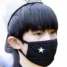 Unisex Anti-dust Solid Black White Star Cotton Earloop Face Mouth Mask Muffle