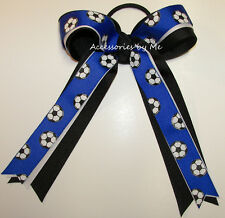 Soccer Ball Ponytail Holder Bow Blue White Black Ribbon Streamers Hair Ties