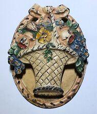 Cast Iron Victorian antique flower basket Enamel Door Knocker