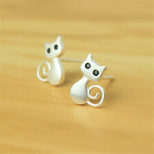 925 Sterling Silver Lovely Cat Kitten With Black Eyes Animal Post Stud Earrings