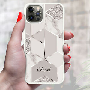 Personalised Marble Phone Case Cover For Apple Samsung Initial Name - Ref Z16