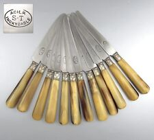 Vintage French Dessert Knives, Horn Handles, Silver Collars, Stamped, 12 pcs