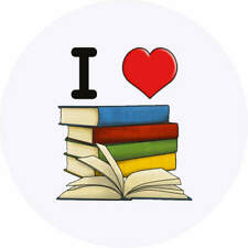 24 x 40mm Round 'I Love Books' Stickers (SK00000581)