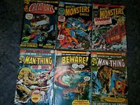Classic Scary Marvel Monsters Comic Lot (6). Bronze 1970s Man-Thing, Macabre fn