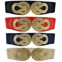 Women Ladies Gold Knot Buckle Elastic Belt Faux Leather Dress Waistband Décor