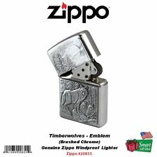 Zippo Timberwolves Wolf Emblem Lighter, Brushed Chrome, Genuine Windproof #20855