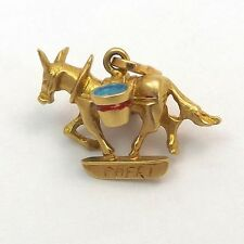 18K Gold 3D Donkey Carrying Water Capri Souvenir Charm Pendant 4.4 gr