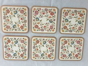 Vintage 6 x Pimpernel Coasters Jacobean  In Box Floral Pattern Satin Finish