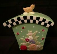 MARY ENGELBREIT GREEN CHERRY & POLKA DOT CANISTER/COOKIE JAR