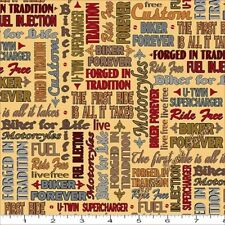 QUILTING TREASURES BIKER FOR LIFE 26019S MOTORCYCLE WORDS FABRIC PRICED @ 1/2 YD