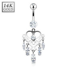 14K Solid WHITE GOLD BELLY BUTTON NAVEL RING Piercing Jewelry MARQUISE CZ DANGLE