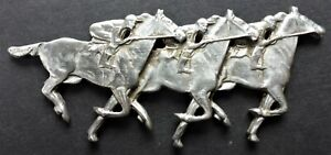 HORSERACING 3 JOCKIES STERLING 25 GR. LOVE TOKEN CAN.SHIP $1.99 COMB. SHIP