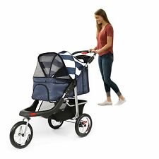 3 Wheels Folding Pet Jogging Stroller Cat Dog Travel Carrier with Storage Basket