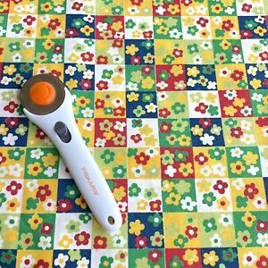 Vintage colorful flowers checkered slubbed nubby thick cotton by the half yard