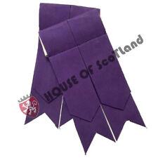 Men's Highland Scottish Kilt Hose Sock Flashes Plain Purple Garter Pointed Wool
