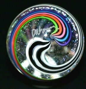 "JAMES ALLOWAY GLASS MARBLE/1.208""-DICHROIC DOUBLE SWIRL # 3030-LIME,MAGENTA,TURQ"