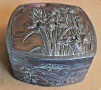 Antique Repousse HInge-Lidded Art Nouveau Bronze Silk-Lined Trinket Box VGC