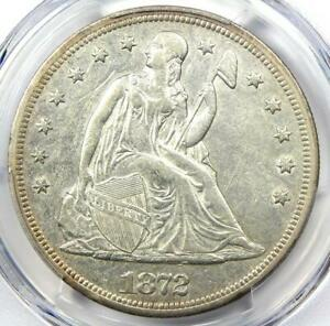 1872 Seated Liberty Silver Dollar $1 Coin - Certified PCGS AU50 - Rare Coin!