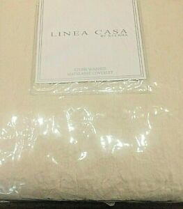 Linea Casa By Sferra Stone Washed Matelasse Queen Coverlet IVORY / GEOMETRIC New