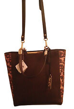 Coach Chic Madison Mini Saffiano Brown Leather Crossbody w  Leopard Panels 88e5aec843
